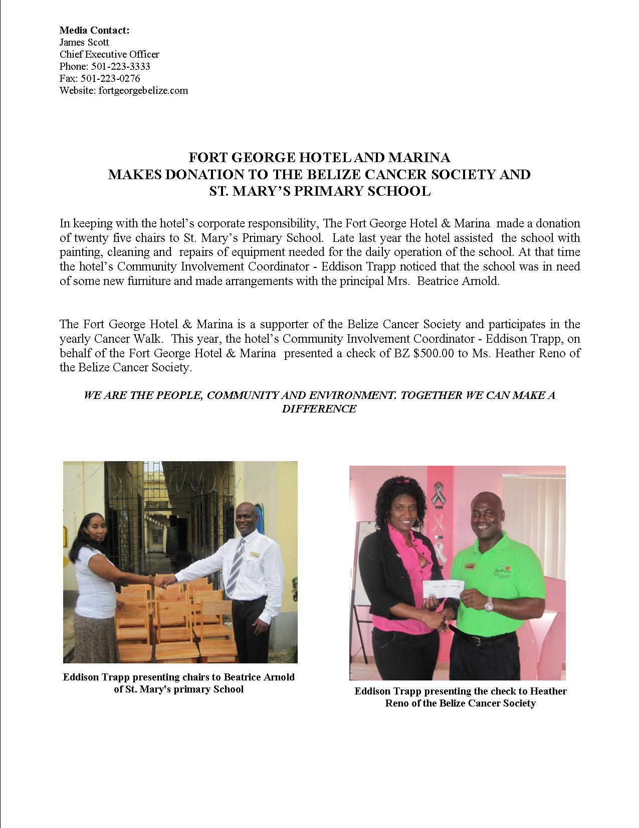 radisson makes a donation to belize cancersociety st. marys - website